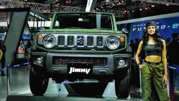 A Suzuki Jimny on display at the Auto Expo 2020