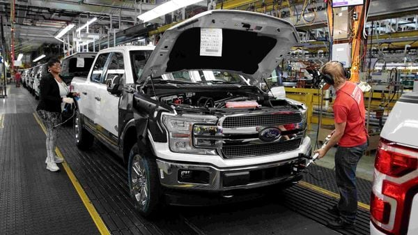 A Ford F150 pick-up truck moves down the assembly line at Ford's Dearborn Truck Plant in Michigan. (File photo) (REUTERS)