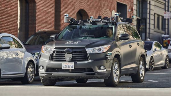 A vehicle belonging to California-based self-driving startup Zoox seen driving along a street. (ZOOX via REUTERS)