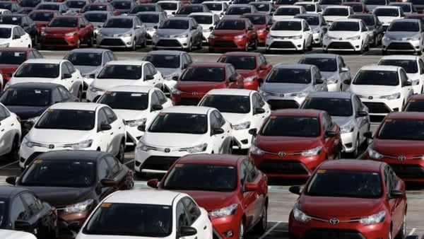 Newly assembled Toyota Vios sedans are seen at a stockyard of the Toyota Philippines manufacturing plant in Sta Rosa, Laguna, south of Manila August 11, 2014. (File photo) (REUTERS)