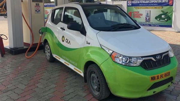 Mahindra's, e2oPlus, operated by Indian ride-hailing company Ola, is seen at an electric vehicle charging station in Nagpur, India. (File photo) (REUTERS)