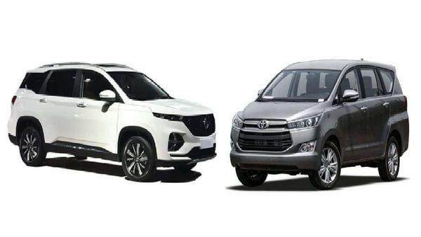 MG Hector Plus (left) vs Toyota Innova Crysta (right)