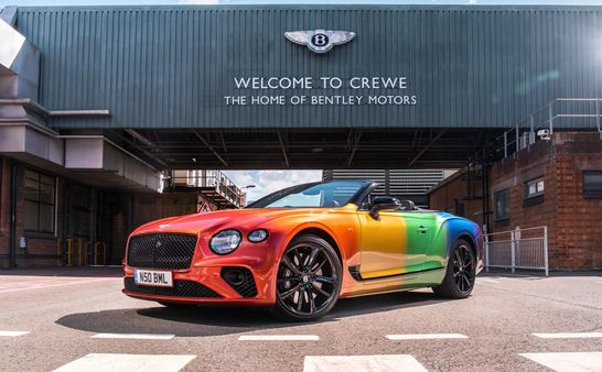 Bentley's first rainbow-inspired Continental GT V8 Convertibleexpresses Bentley's support for Cheshire East's first virtual Pride event later this month.
