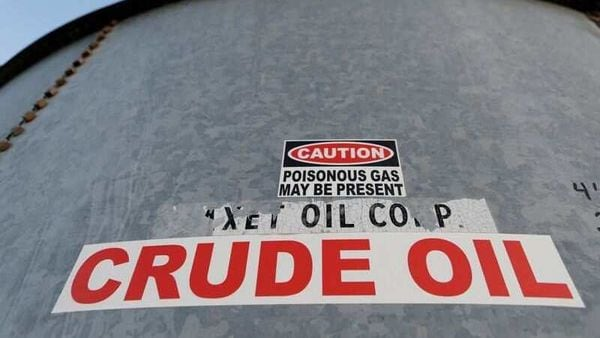 FILE PHOTO: A sticker reads crude oil on the side of a storage tank in the Permian Basin in Mentone, Loving County, Texas, U.S. November 22, 2019. Picture taken November 22, 2019. REUTERS/Angus Mordant/File Photo (REUTERS)