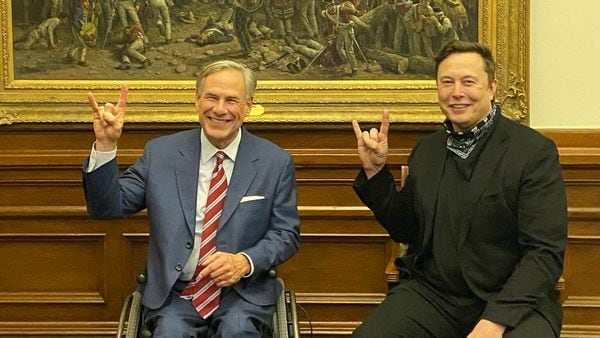 Tesla CEO Elon Musk with Greg Abott, Governor of Texas, after the state was finalised for the electric carmaker's second US gigafactory site. (Photo courtesy: Twitter/@GregAbbott_TX)