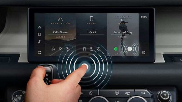 The new Jaguar Land Rover's contactless touchscreen technology has been named 'Predictive Touch'.