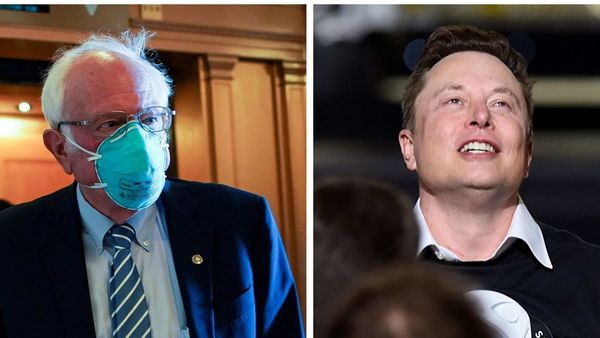 Bernie Sanders (l) has attacked Elon Musk for the Tesla CEO's opinion on stimulus package.