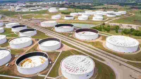 FILE PHOTO: Crude oil storage tanks are seen in an aerial photograph at the Cushing oil hub in Cushing, Oklahoma, US. (REUTERS)