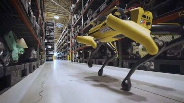 Boston Dynamics' dog-like robot Fluffy uses lasers to scan the Ford Van Dyke Transmission Plant to help engineers come up with a computer-aided design plan to retool the plant in Sterling Heights, Michigan, US (VIA REUTERS)