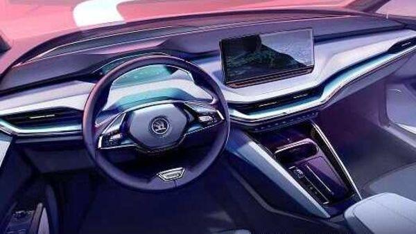 The interior design of the upcoming Skoda Enyaq electric SUV