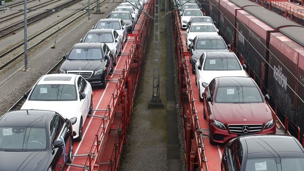 New Mercedes-Benz automobiles being transported on railway wagons. (Representational file photo) (Bloomberg)