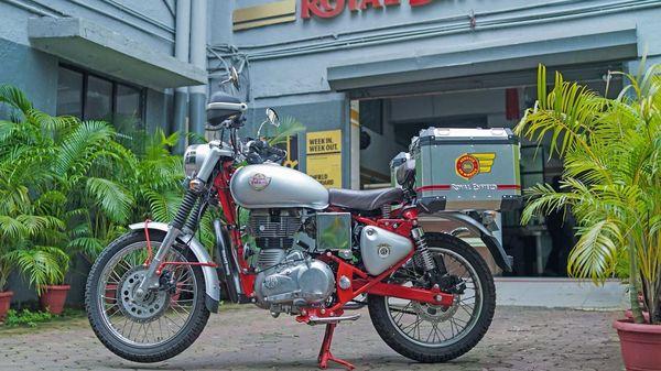 File photo - A Royal Enfield service bike outside a company workshop.