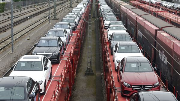 New Mercedes-Benz automobiles are transported on railway wagons. (Representational File Photo) (Bloomberg)