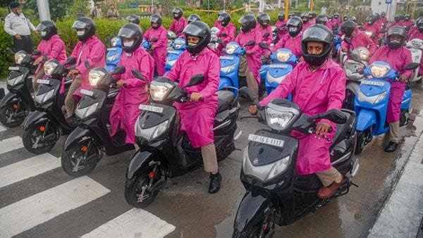 This all-female scooter-borne patrolling unit was launched with an aim to provide safety to women in Noida and Greater Noida. (PTI)
