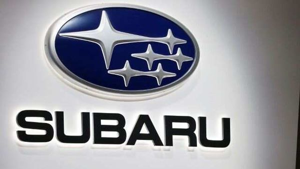 A Subaru logo is displayed at the 89th Geneva International Motor Show in Geneva, Switzerland.