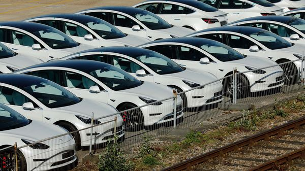 New electric automobiles, manufactured by Tesla Inc, sit on the dockside after being imported to the Port of Southampton in Southampton, UK. (File photo used for representational purpose) (Bloomberg)