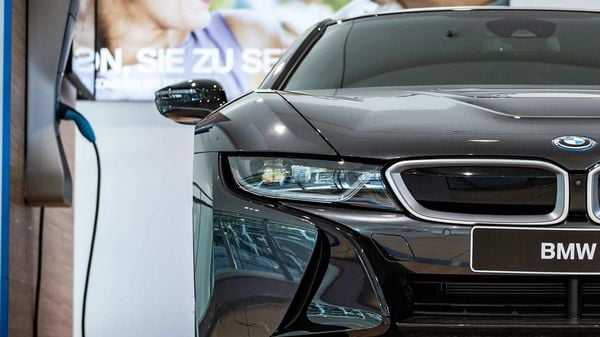 A BMW automobile i8 electric vehicle stands parked inside a Bayerische Motoren Werke AG showroom in Frankfurt, Germany. (File photo used for representational purpose only) (Bloomberg)