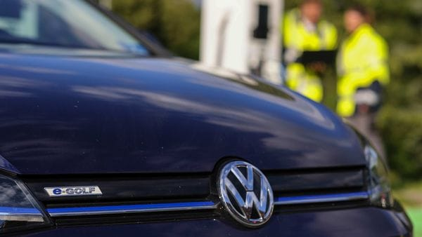 A Volkswagen e-Golf electric automobile (Bloomberg)