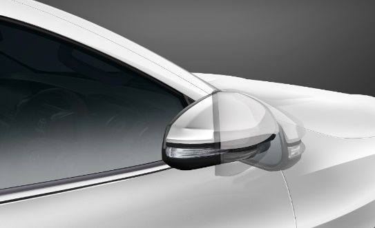 The side mirrors are electrically adjustable, retractable and come with side turn indicators.