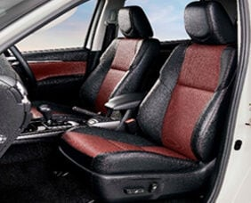 The seats are upholstered in sporty black and maroon soft leather as well as red stitch accents. The interior also gets 360 panoramic view monitor and a digital video recorder.