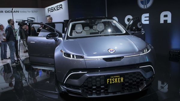 The Fisker Ocean electric sports utility vehicle sits on display at CES 2020 in Las Vegas. (File photo) (Bloomberg)