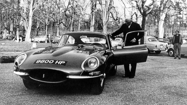 9600HP with Jaguar founder Sir William Lyons at the E-type launch, Parc des Eaux Vives, Geneva, 1961. (Photo Courtesy: JDHT)