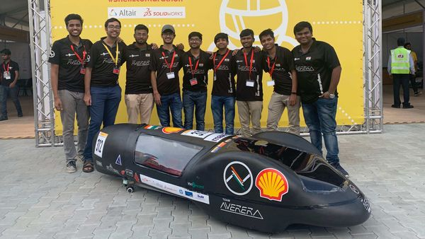 Team Averera from IIT BHU with its hydrogen-powered vehicle prototype