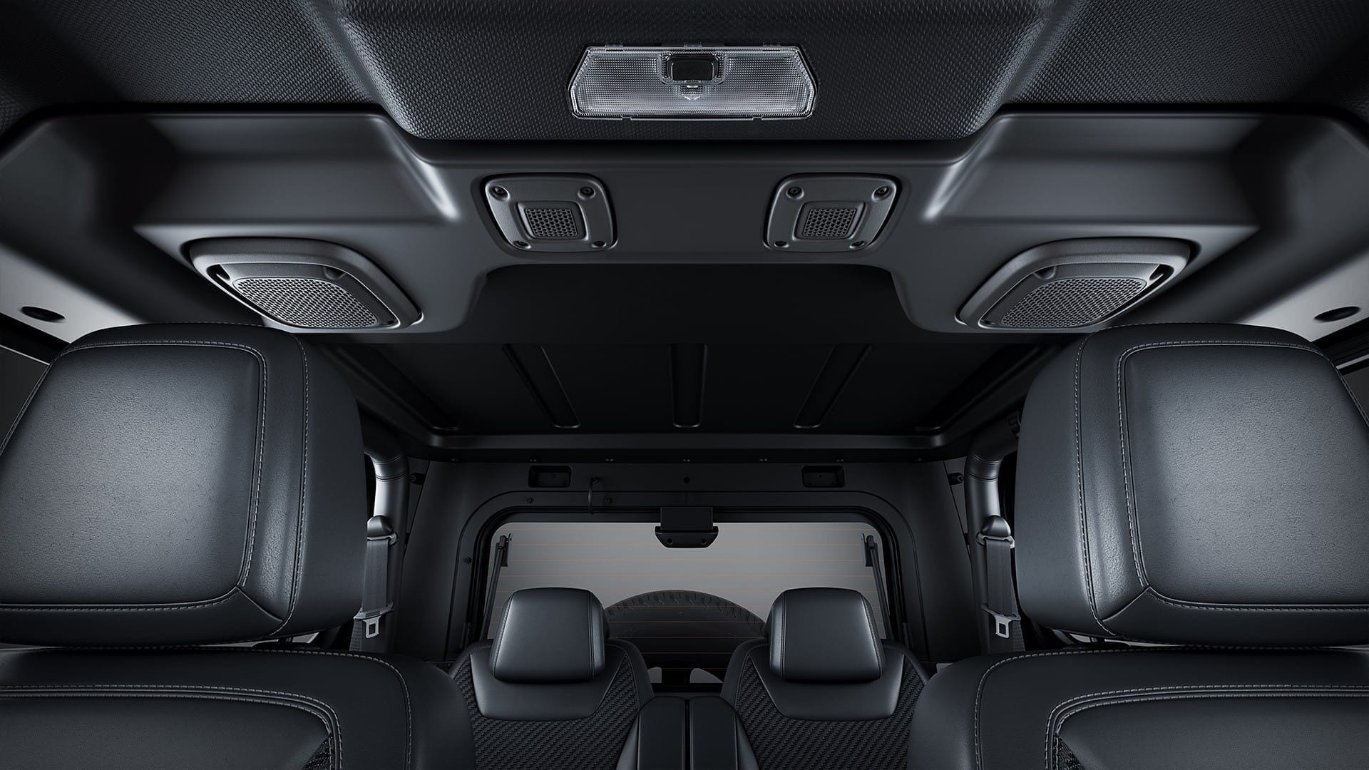 The Hard Top roof version of Thar 2020 features speakers mounted above.
