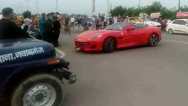Ferrari California GT supercar pictured from the incident.