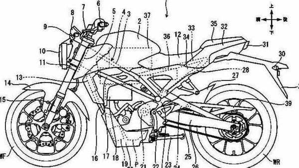 The patent suggests a Honda CB125R based EV is under development.