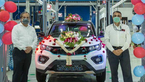The 1000th unit of Nexon EV at Tata Motors plant in Pune.