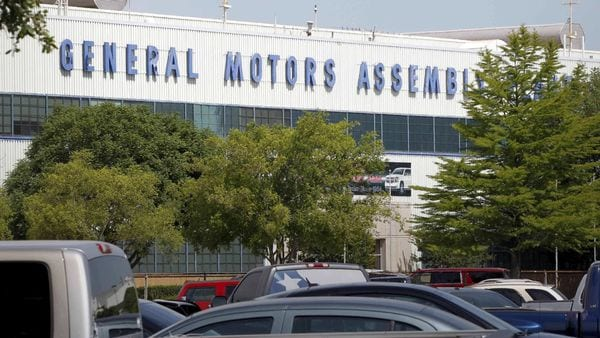 FILE PHOTO: A general view of the front entrance at the General Motors Assembly Plant in Arlington, Texas. (REUTERS)