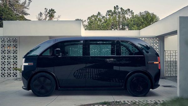 An electric vehicle from the startup Canoo is seen in this handout photo in California, US. (VIA REUTERS)