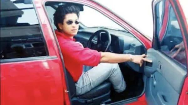 Sachin Tendulkar in his Maruti 800 during his early cricketing days. (File photo)