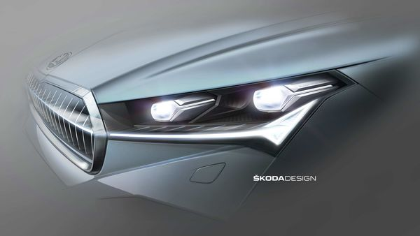 Skoda Enyaq's full LED matrix headlights emphasise the innovative character of the new SUV model.
