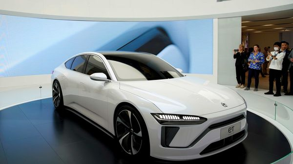 File photo - NIO's electric vehicle (EV) ET7 is unveiled at the Shanghai auto show in Shanghai. (REUTERS)