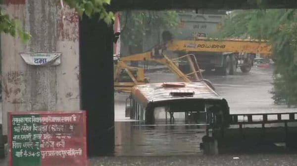 A severely waterlogged underpass in Delhi's Prahladpur on Thursday morning. (Photo: ANI)