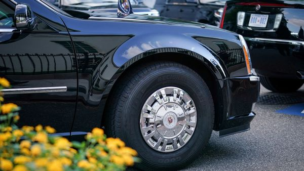 A Goodyear tire is seen on US President Donald Trump's presidential limousine, known as the Beast, parked outside the White House. (REUTERS)