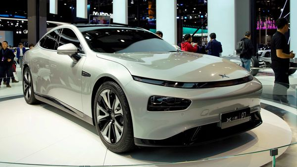 XPeng's electric vehicle (EV) P7 is unveiled during the media day for the Shanghai auto show. (File photo) (REUTERS)