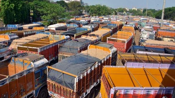 Trucks are seen parked during the nationwide lockdown amid coronavirus pandemic, in Kolkata. (File photo)