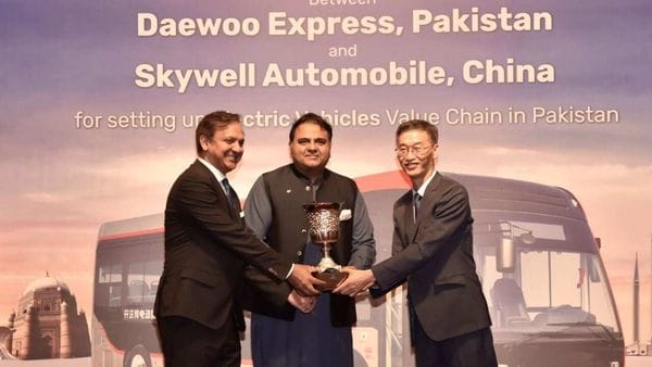 Pakistan's minister of Science and Technology during the signing of the deal between Daewoo Express and Skywell Automobile. (Photo courtesy: Twitter/@@fawadchaudhry)