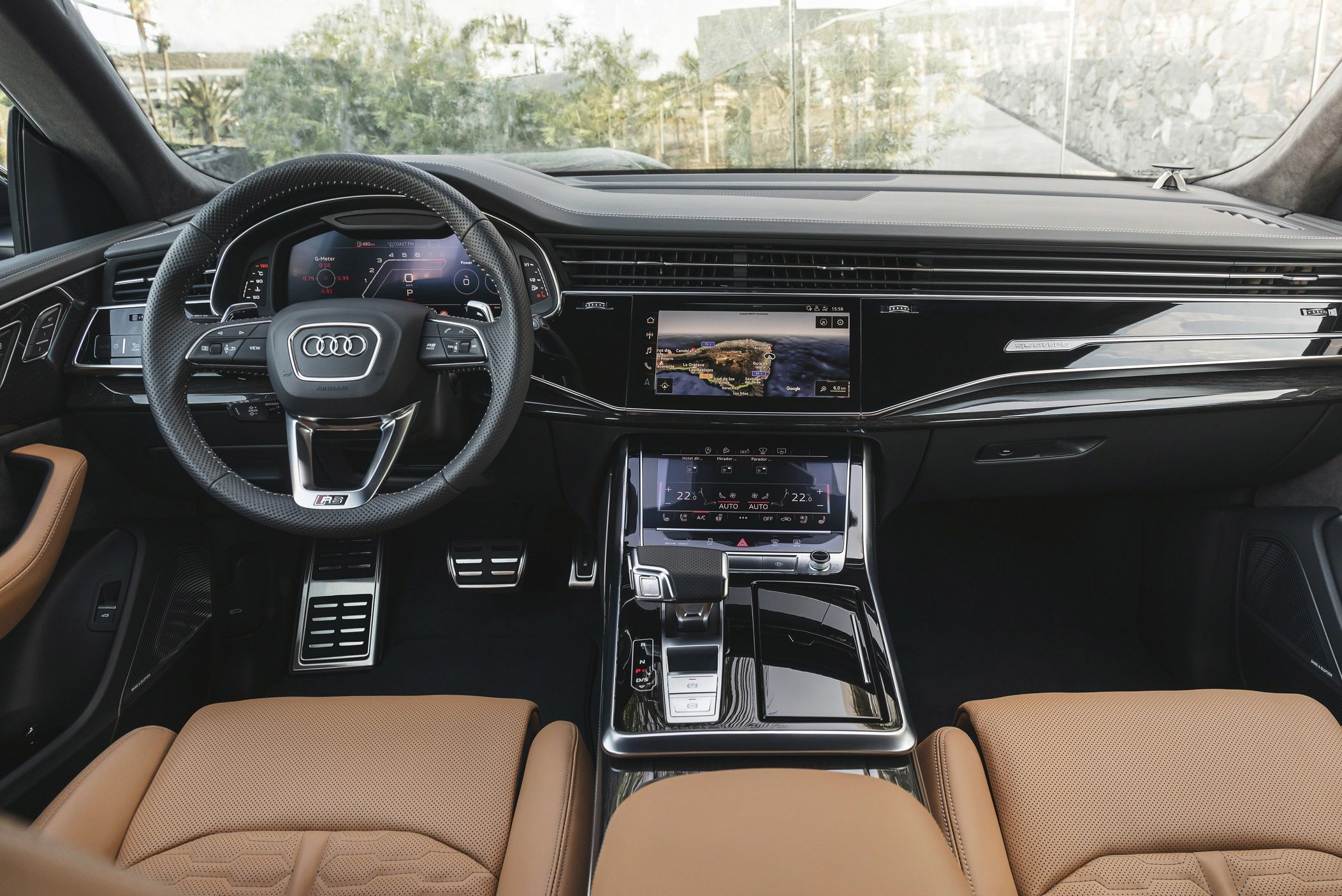 Features as standard in the RS Q8 include all-wheel steering, RS roof spoiler, Audi's Virtual cockpit, quattro with self locking differential, Sport Adaptive Air Suspension and 2 RS modes for personalized drive settings.