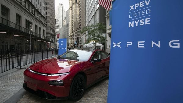 The Xpeng P7 electric vehicle is displayed outside the New York Stock Exchange. (Bloomberg)