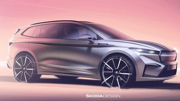 Official sketch of Skoda Enyaq iV electric SUV