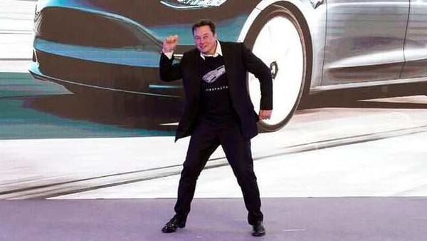 Tesla CEO Elon Musk dances onstage during a delivery event for Tesla China-made Model 3 cars in China. (File photo) (REUTERS)