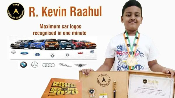 Photo of Kevin Raahul with his awards. (Photo courtesy: Twitter/@indiabookrecord)