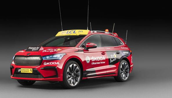 The red-painted Skoda Enyaq iV electric SUV that will debut as the lead vehicle in Tour de France.