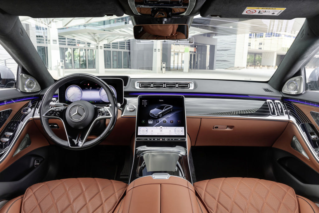 Quite obviously, the interiors of the new S-Class is absolutely plush and is loaded with tech gizmos to the absolute brim. The new 12.8-inch touchscreen is the main highlight here and the car now has has 27 fewer knobs and dials.