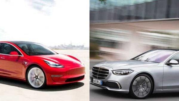 Tesla Model 3 (L) and Mercedes' new S-Class