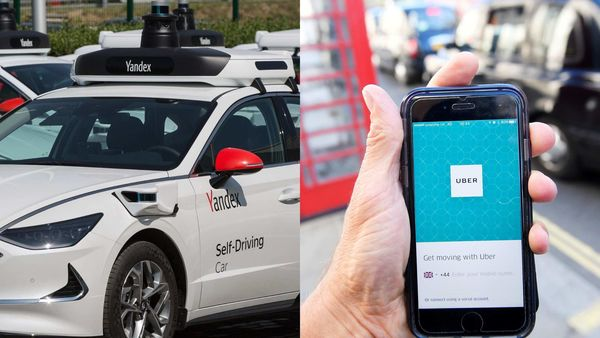 Yandex self-driving car (L) and Uber app